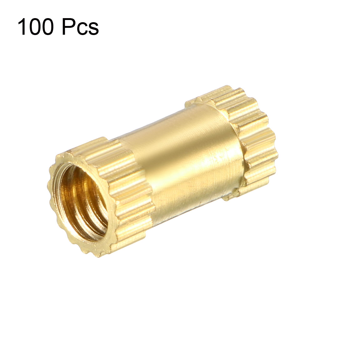 M4 x 10mm(L) x 5mm(OD) Brass Knurled Threaded Insert Embedment Nuts, 100 Pcs - image 2 de 3