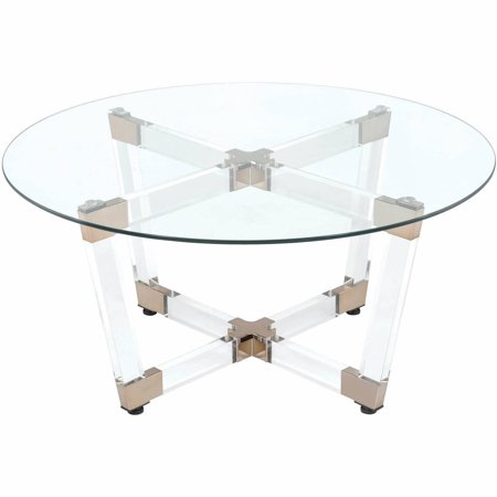 Coaster Company Coffee Table, Chocolate and Chocolate and Chrome Clear Acrylic