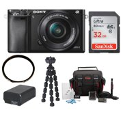 Sony Alpha a6000 ILCE6000LB 24.3 Interchangeable Lens Camera 16-50mm Power Zoom Lens + 32GB Card + Accessories