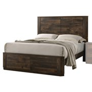 Acme Elettra Wooden Frame Bed in Antique Walnut, Multiple Size