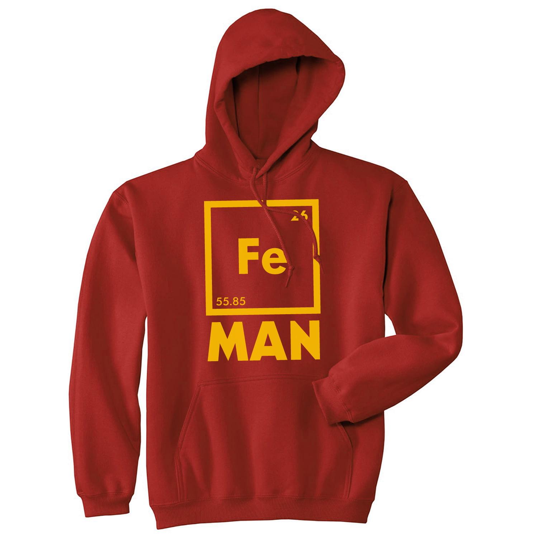 Unisex Iron Man Hoodie Funny Geeky Chemical Elements Science Sweatshirt