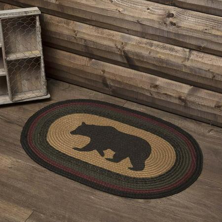 Dark Tan Rustic & Lodge Flooring Laramie Bear Jute Stenciled Nature Print Oval Accent Rug ()