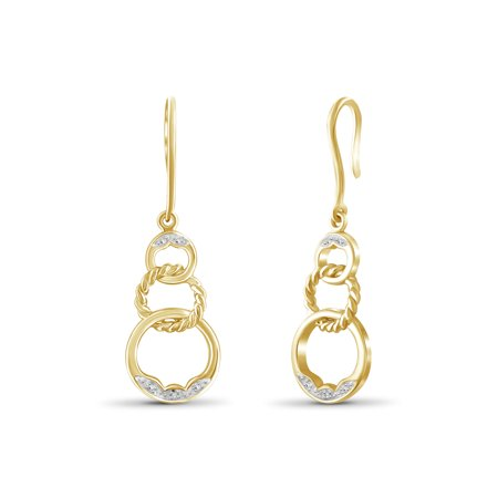 White Diamond Accent 14kt Gold-Plated Dangle Earrings