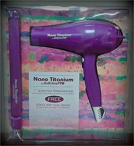 "***discontinued*** Babyliss Pro titanium 1"" ultra thin flat iron & ionic dryer set"