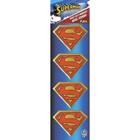 Dc Comics Licensed Heavy Duty Embossed Metal Stickers 4/pkg-superman Logo 1.125