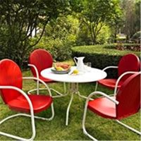 Crosley Furniture  Griffith Metal 40 in. Five Piece Outdoor Dining Set - 40 in. DiningTable in White Finish with Red Finish Chairs