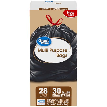 80 Black Value Pack - (Pack of 2) Great Value Multi-Purpose Drawstring Trash Bags, 30 Gallon, 28 Count