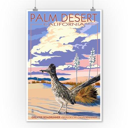 Casino Desert Scene (Palm Desert, California - Roadrunner Scene - Lantern Press Poster (9x12 Art Print, Wall Decor Travel)