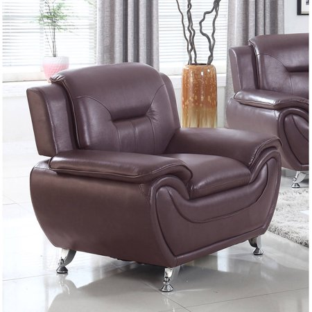 Dark Brown Accent Chairs.Ufe Norton Dark Brown Faux Leather Modern Living Room Accent Chair