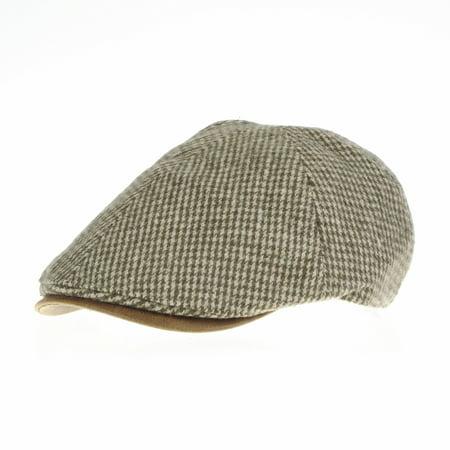 WITHMOONS Tweed Newsboy Hat faux leather brim Flat Cap SL3019 (Beige)