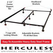modern sleep universal heavy duty adjustable metal bed frame with double rail center support bar