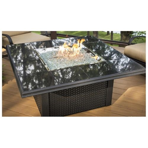 Crystal Fire Pit Table with Black Wicker Base