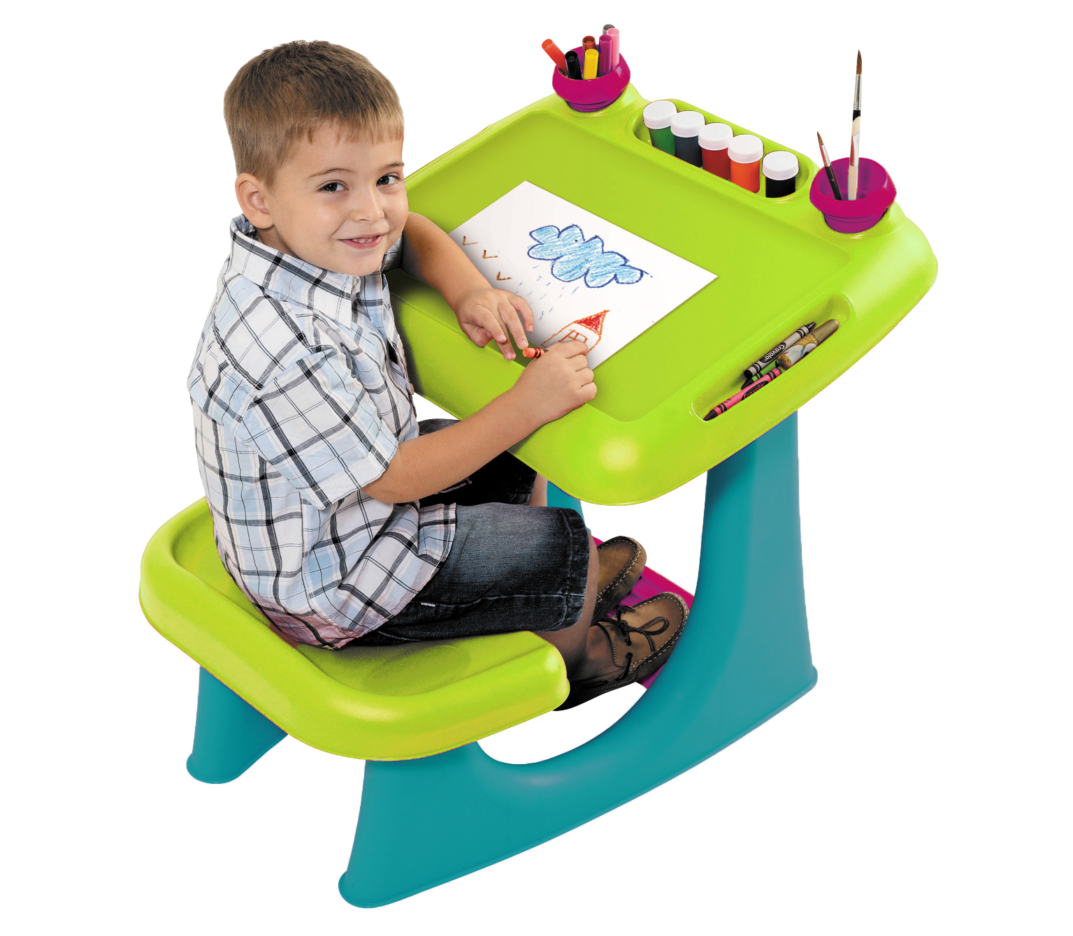 keter kids sit and draw art table creativity desk with craft storage and removable cups