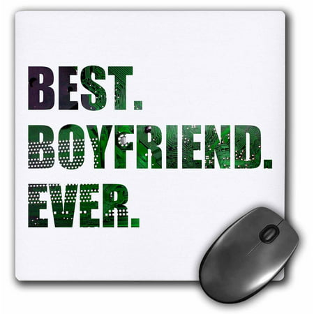 3dRose Best Boyfriend Ever - cut out of green computer microchip graphic, Mouse Pad, 8 by 8 inches
