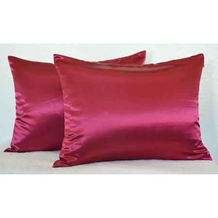 Aiking Home 350TC Bridal satin Pillow Cases, Zipper Closure (Pack of 2), Size 20''x26'', Standard-Burgundy ()