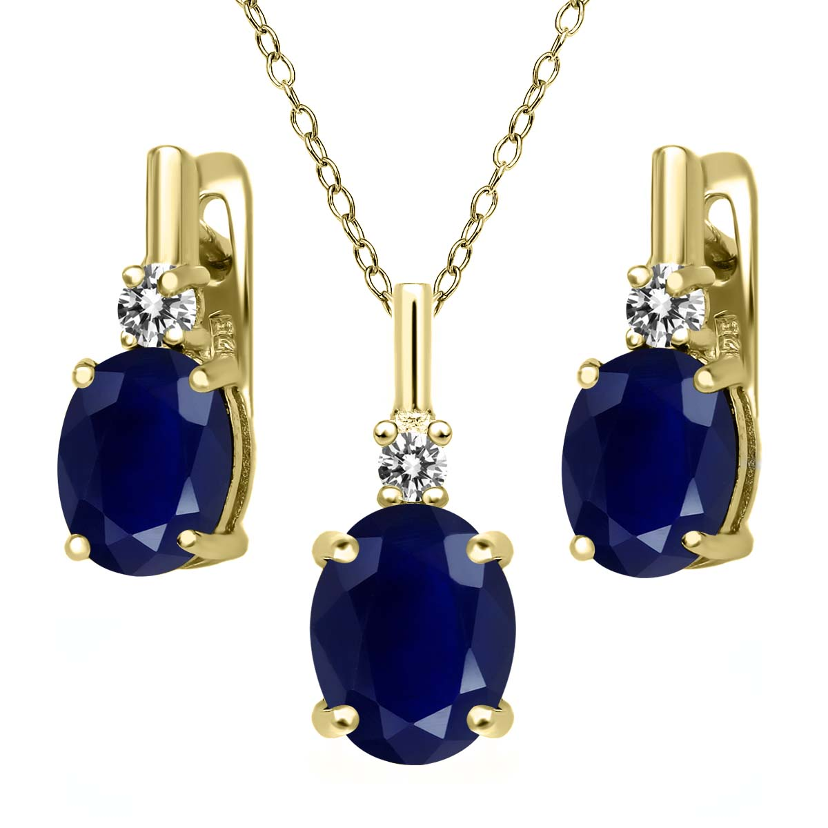 7.57 Ct Blue Sapphire White Diamond 18K Yellow Gold Plated Silver Pendant Earrings Set by