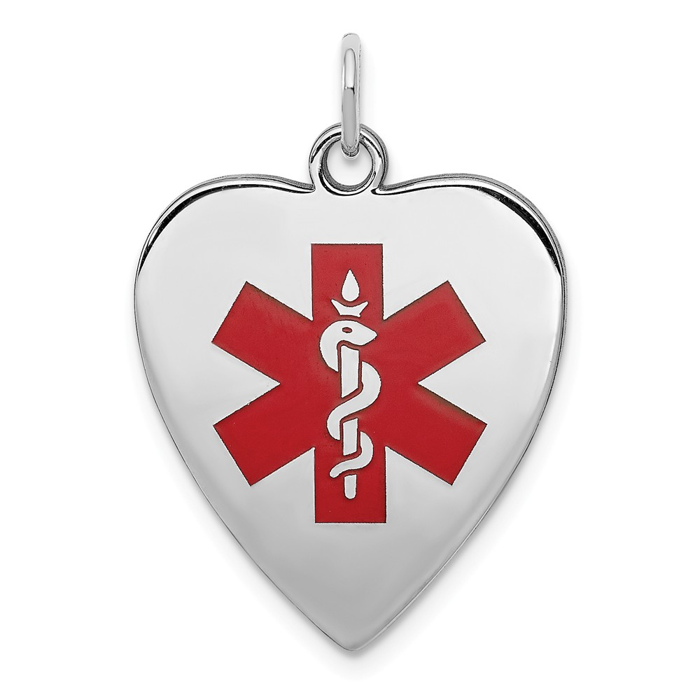 Sterling Silver Engravable Red Enameled Small Heart Medical Pendant