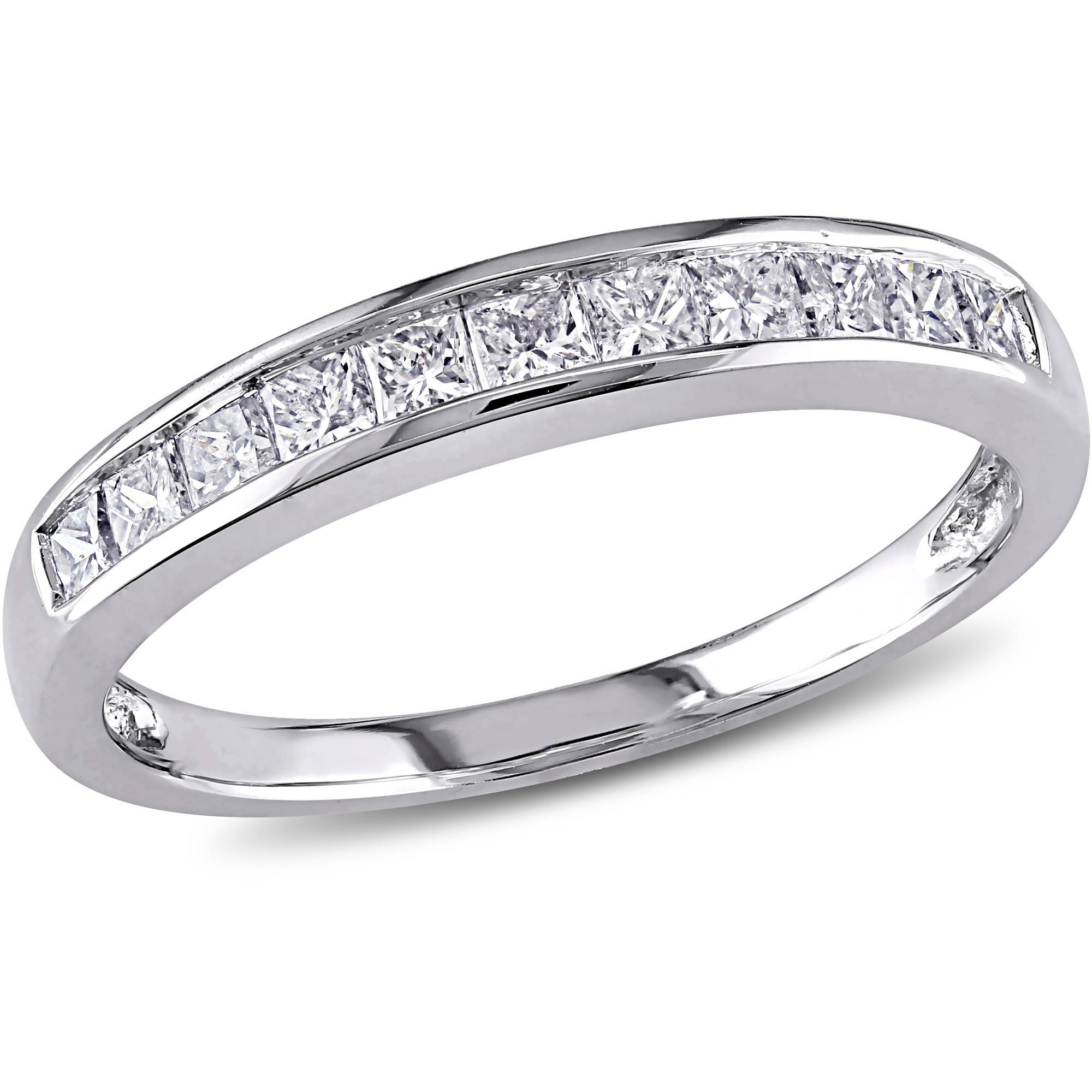 Miabella 1/2 Carat T.W. Princess-Cut Diamond 14kt White Gold Semi-Eternity Anniversary Ring