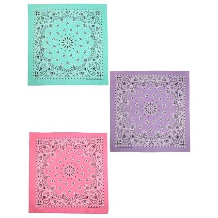 Cow Print Bandana (Size one size Women's Cotton Pastel Paisley Print Bandana Kit (Pack of 3), Mint, Lavender,)