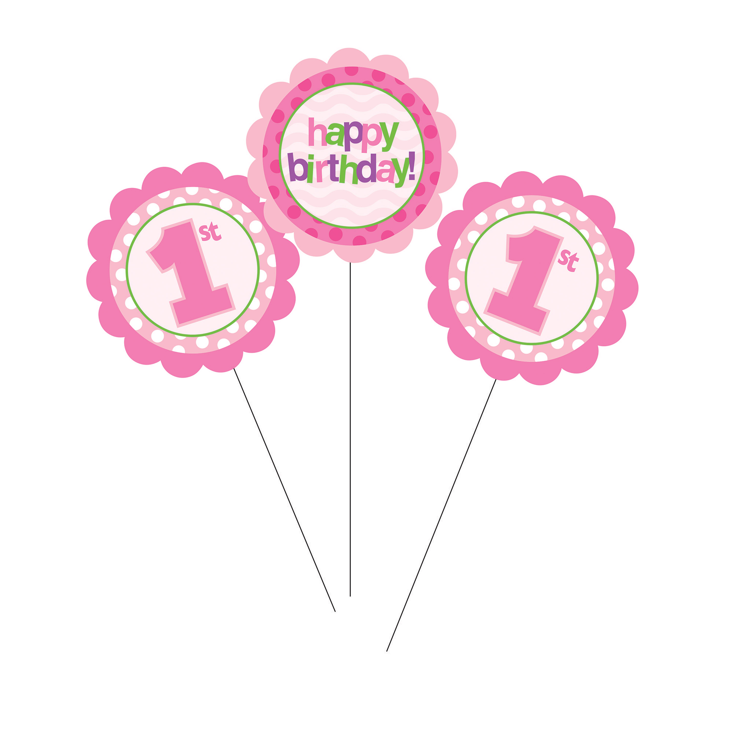 1st Birthday Girl DIY Centerpiece Sticks, 3 pk