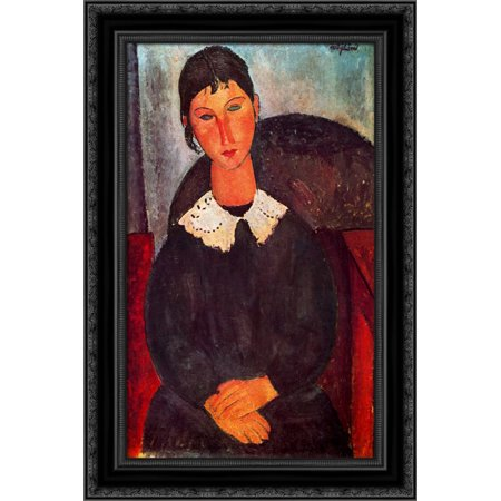 Elvira with a white collar 19x24 Black Ornate Wood Framed Canvas Art by Modigliani, Amedeo Amedeo Modigliani Framed Canvas