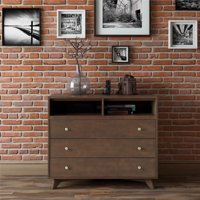 Novogratz Otis Mid-Century Modern 3-Drawer Chest, Dark Walnut