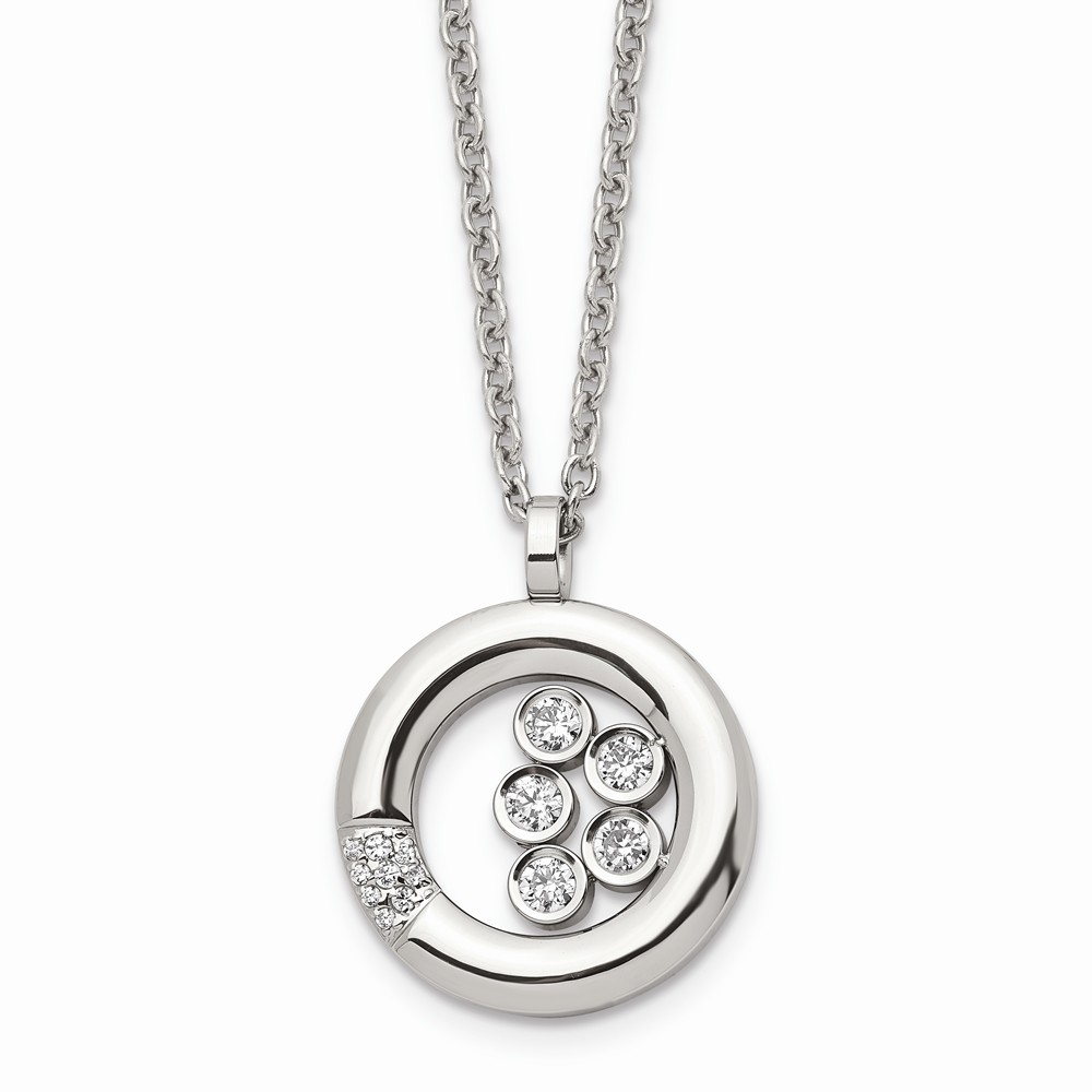 Solid Stainless Steel Black CZ Cubic Zirconia Circle 1in Extension Pendant Necklace Charm Chain with Secure Lobster Lock Clasp
