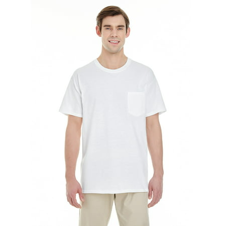 Branded Gildan Adult Heavy Cotton 53 oz Pocket T-Shirt - WHITE - 3XL (Instant Saving 5% & more on min (Heavy Duty Cotton T Shirts With Pocket)
