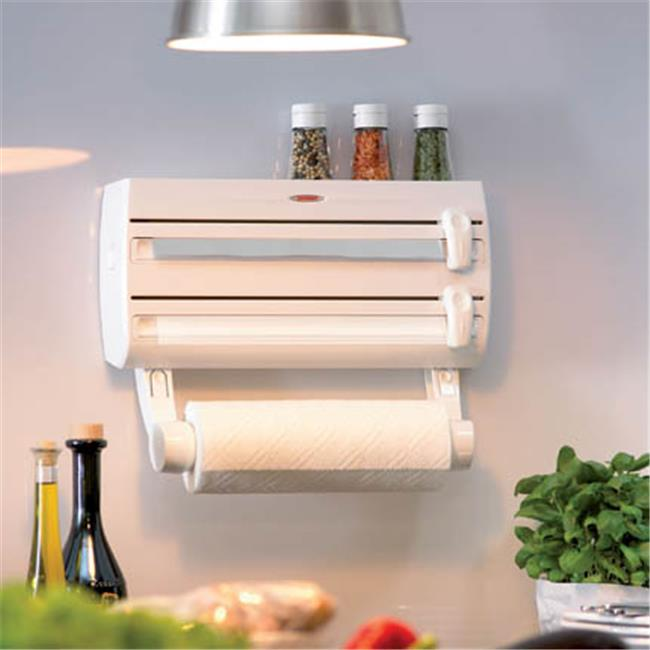 Leifheit Wall-Mount Paper Towel Holder with Spice Rack, White