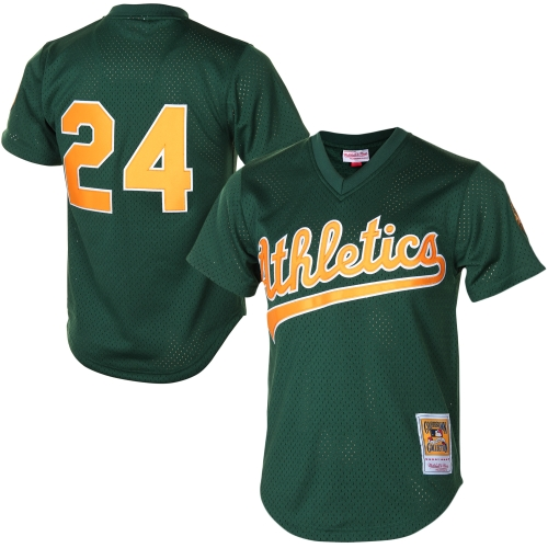 Rickey Henderson Oakland Athletics Mitchell & Ness 1998 Cooperstown Mesh Batting Practice Jersey - Green