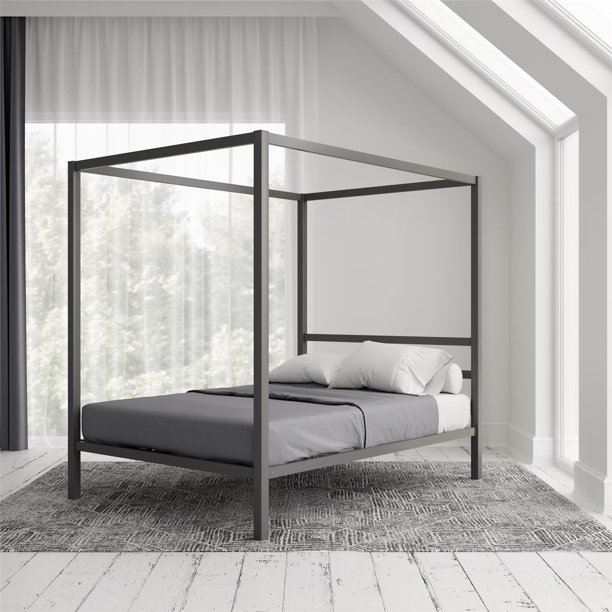 Dhp Modern Canopy Metal Gray, Modern Canopy Queen Metal Bed Instructions