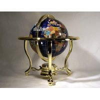 Unique Art 10-Inch Tall Table Top Blue Ocean Gemstone World Globe with Gold Tripod Stand