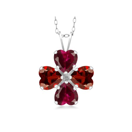 3.72 Ct Heart Shape Red Created Ruby Red Garnet 925 Sterling Silver Pendant