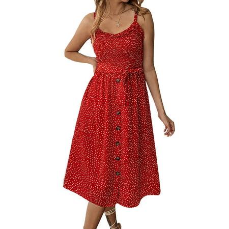 Women Summer Holiday Beach Strappy Sling Midi Dress Bardot Button Through Ruffled Ploka Dot Waistband Swing Sundress