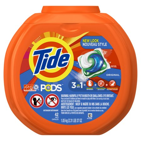 Tide PODS Original Scent HE Turbo Liquid Detergent Pacs, 42 count - Roll Tide Colors