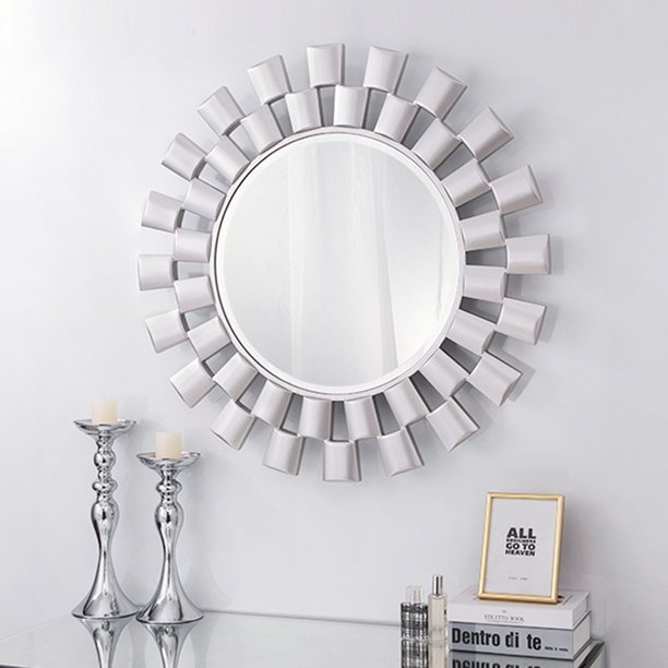 Chende Large 31 5 Wall Mirror Round, Ornate Round Silver Wall Mirror