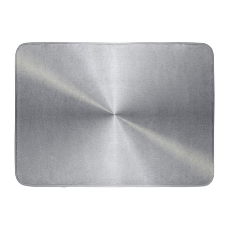SIDONKU Silver Steel Circular Brushed Metal Aluminium Stainless Shiny Aluminum Doormat Floor Rug Bath Mat 23.6x15.7 -