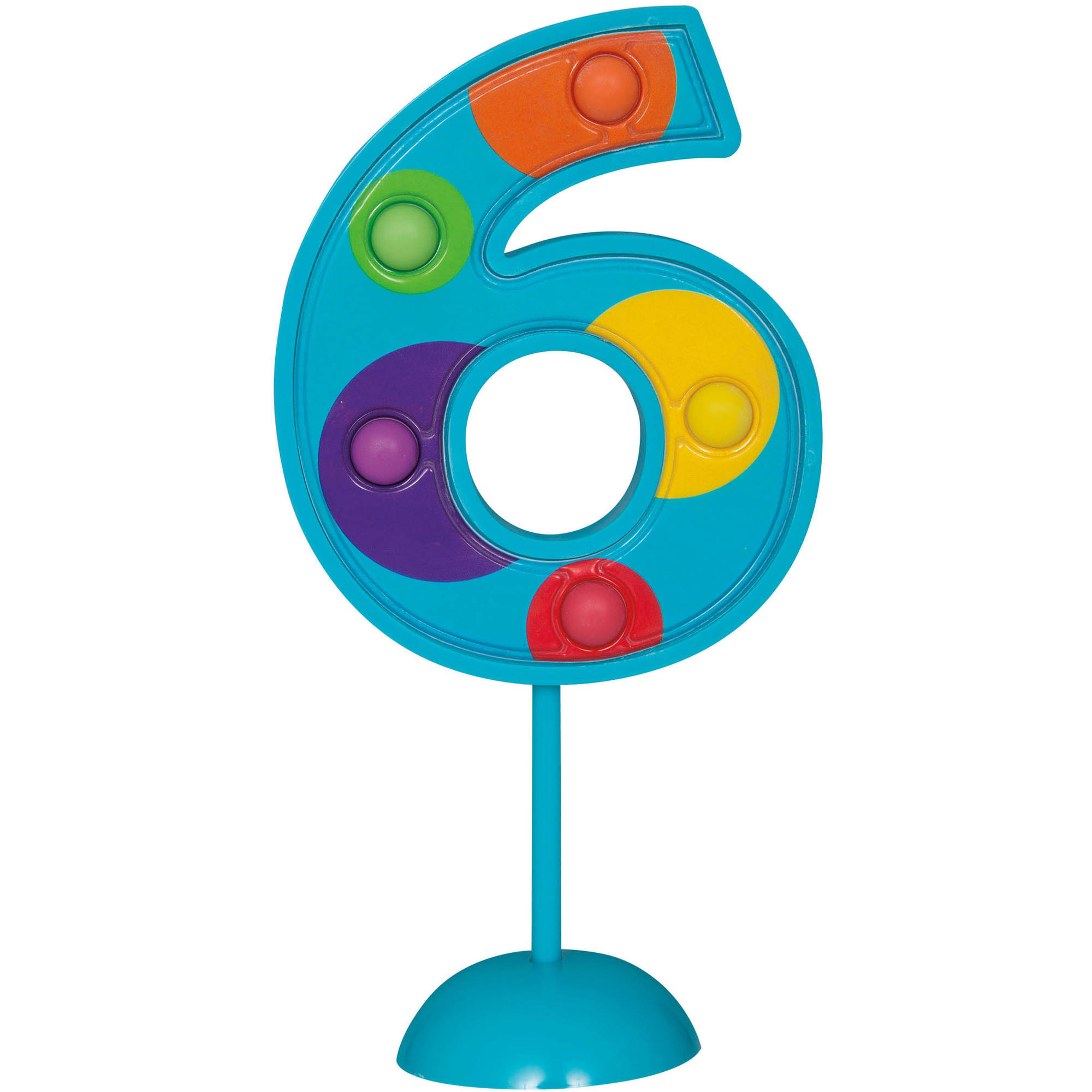 Flashing Number 6 Cake Topper Decoration