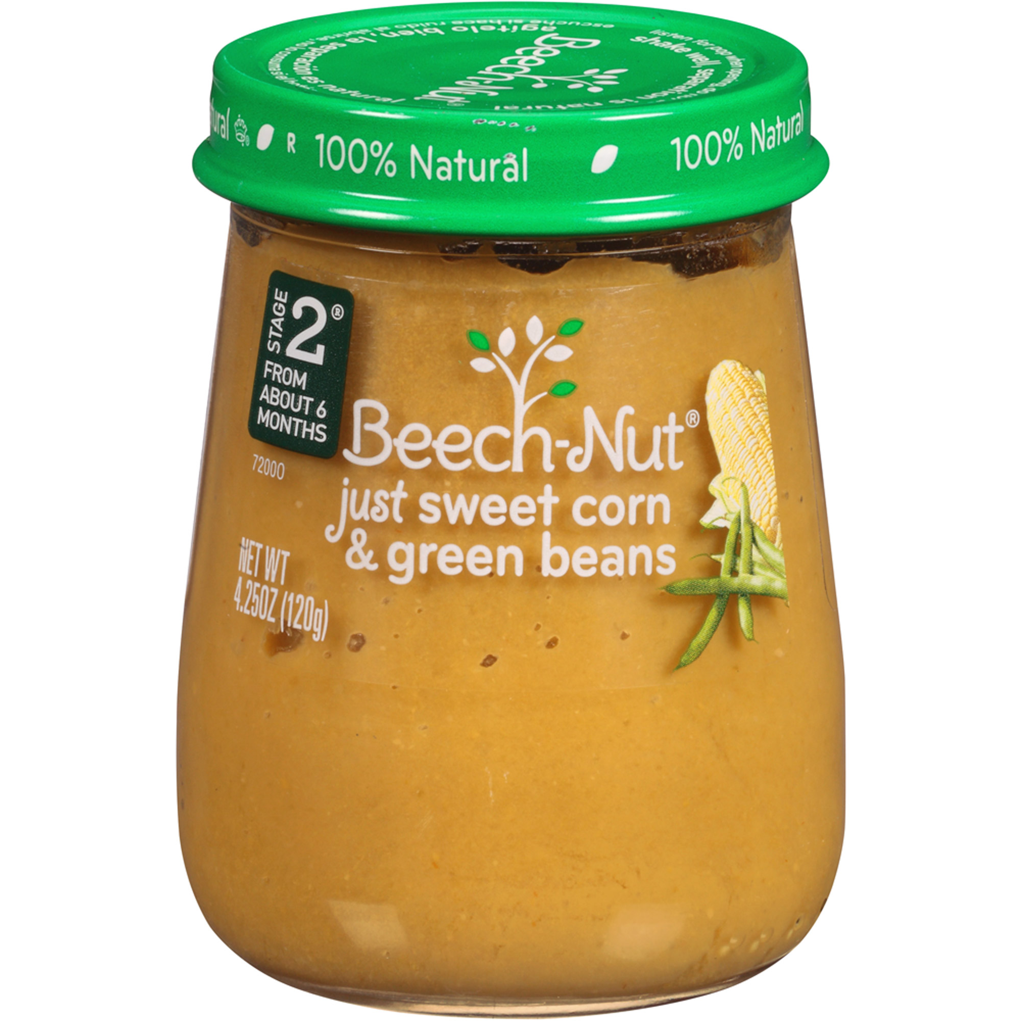 Beech-Nut Naturals Stage 2 Just Sweet Corn & Green Beans Baby Food, 4.25 oz, (Pack of 10)