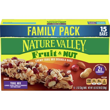 Nature Valley Fruit & Nut Chewy Granola Bars, Trail Mix, 15 Ct Family Pack, 18 Oz Nutrition Energy Bar Trail Mix