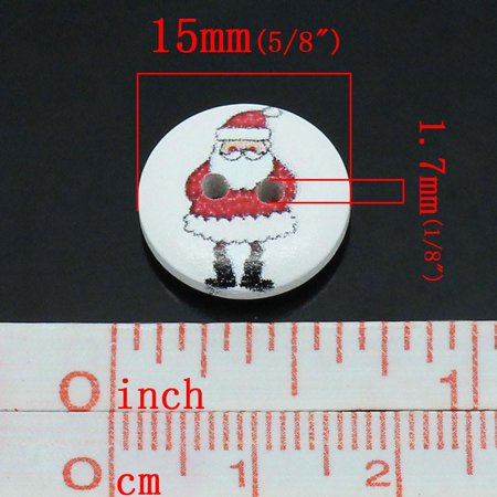 Round Sparkle (Sexy Sparkles 10 Pcs, Round 2 Holes Santa Holiday Buttons 15mm (5/8'') Dia, )