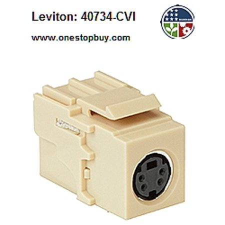 Leviton 40734-CVI QuickPort Female to Female S-Video Snap-In - Ivory