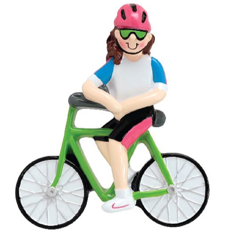 Girl Riding Bicycle Christmas Tree Ornament Decoration Cyclists Bike Rider New