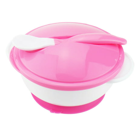 Snacker Bowl - Baby Feeding Bowl with Sucker and Temperature Sensing Spoon Suction Cup Bowl Dishes Tableware Set for Children Kids