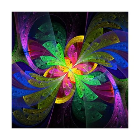 Multicolor Beautiful Fractal Flower Print Wall Art By velirina