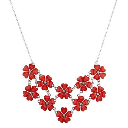 Lux Accessories Silvertone n Red Acrylic Flower Floral Mini Statement Necklace - Jeweled Floral Mini Pendant