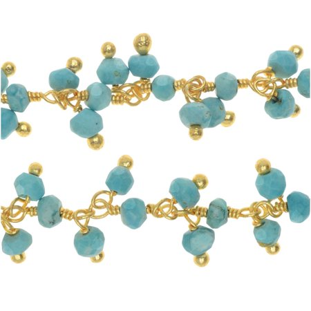 Turquoise Gem. Drops Gold Vermeil Wire Wrapped Chain 3mm Rondelles - By The (Turquoise Stone Drop)