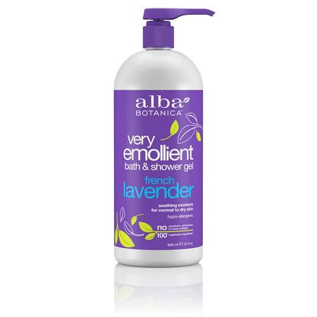 Alba Botanica Very Emollient Bath & Shower Gel French Lavender, 32 Oz