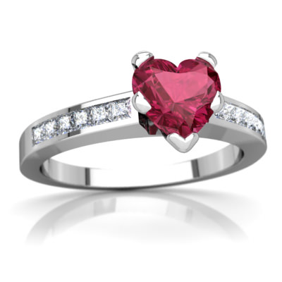 Pink Tourmaline Channel Set Ring in 14K White Gold by