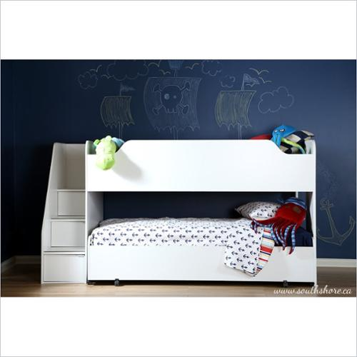 South Shore Mobby Twin Loft Bed with Trundle in Pure White